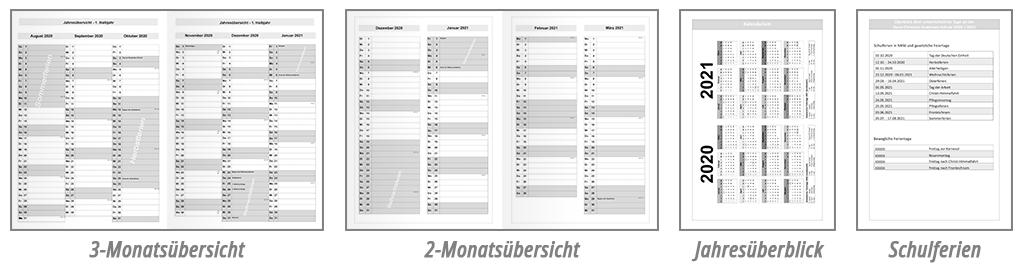 Schulplaner Kalender Beispiele
