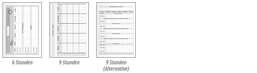 Schulplaner Stundenplan Beispiele